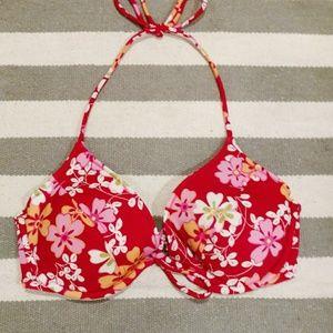 NWOT Victoria's Secret Red Tropical Bikini Top